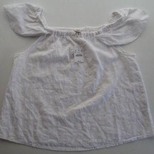 NWT J. Crew S Off Shoulder White Shirt Tank Cotton